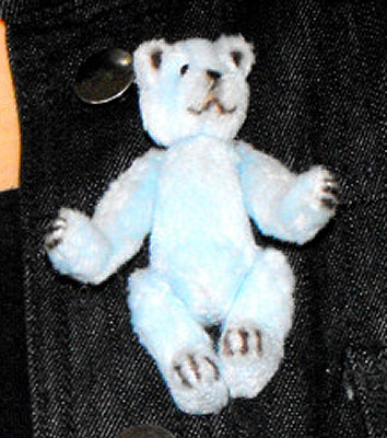 Blue bear for pinning to lapel